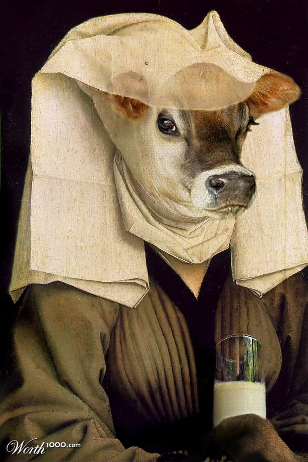 A cow lady with veil - Anthropomorphic art
