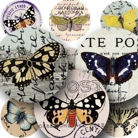 125-year-old butterflies meet 100-year-old postcards from Italy, France, and Germany. Printable collage sheet by piddix.