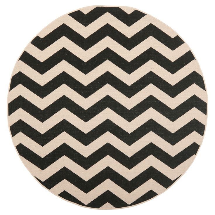 """Wels Square 6'7"""" X 6'7"""" Outer Patio Rug - Black / Beige - Safavieh"""