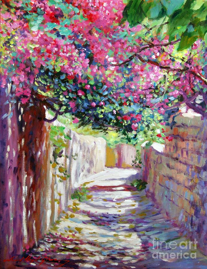 Shady Lane Greece Painting by David Lloyd Glover - Shady Lane Greece Fine Art Prints and Posters for Sale