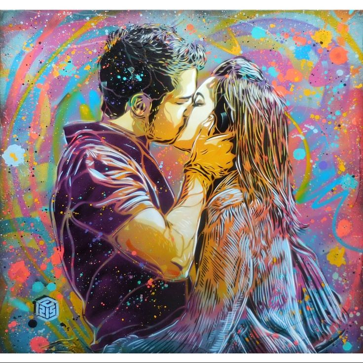 Toile de C215 Titre : Le baiser, 2015