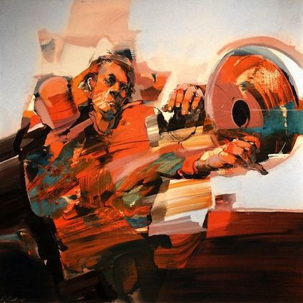 Robert Proch from Poland.  His paintings imply motion and many other things.