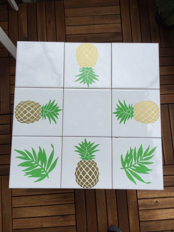 ALKEMISTEN DIY - pineapple balcony balkong bord ananas kakel kakeldekor