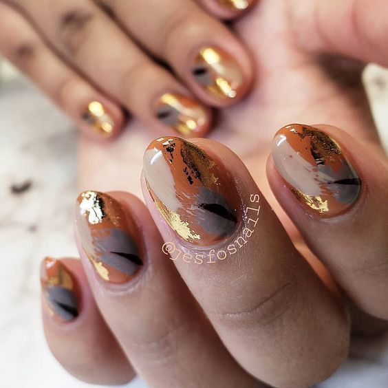 60+ Must Try Nail Designs This Autumn; Fall Flowers Nail Design; Fall nails fall…
