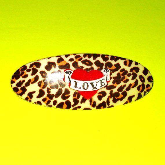 Love Tattoo Leopard Hair Clip https://www.etsy.com/ca/listing/248141740/last-one-leopard-print-and-red-tattoo