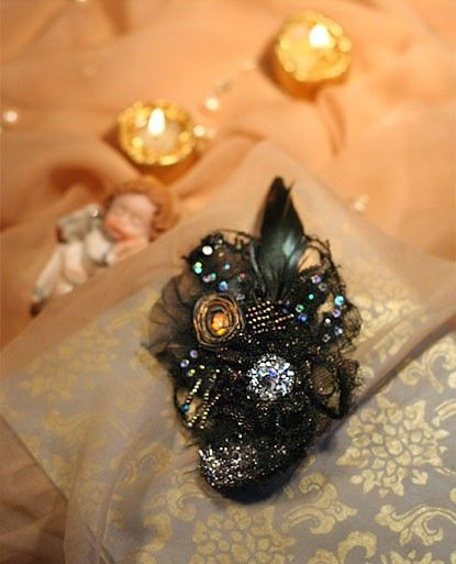 Ethereal Glamour wearable art mixed media brooch by bonheur
