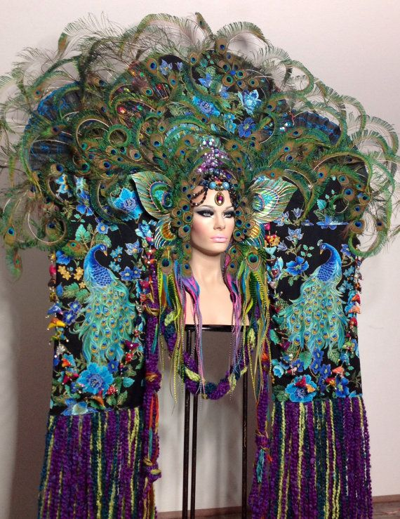 READY TO SHIP Majestic Fairy Peacock Fantasy Woodland fairy nymph goddess headdress headpiece gaga steampunk burlesque costume