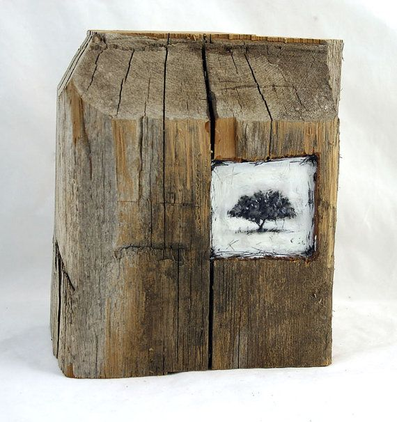 wing+encaustic | ... Tree II - original encaustic mixed media carved in reclaimed barn wood