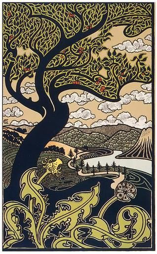 Gisbert Combaz • Tree & Valley • Circa 1898    Gisbert Combaz (1861-1941) was one of the leading Belgian practitioners of the Art Nouveau style, popular in the late 19th and early 20th centuries.