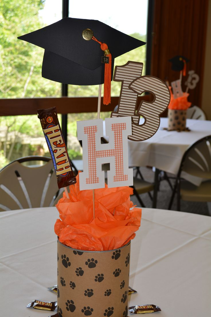 Graduation table centerpieces with Cricut die cuts.  Jolee's tassle and kraft paw-print wrapping paper from the dollar store.