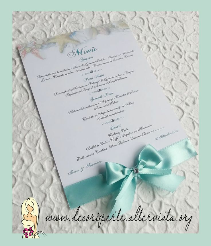 Matrimonio Tema Tiffany : Tiffany wedding menu sea theme matrimonio