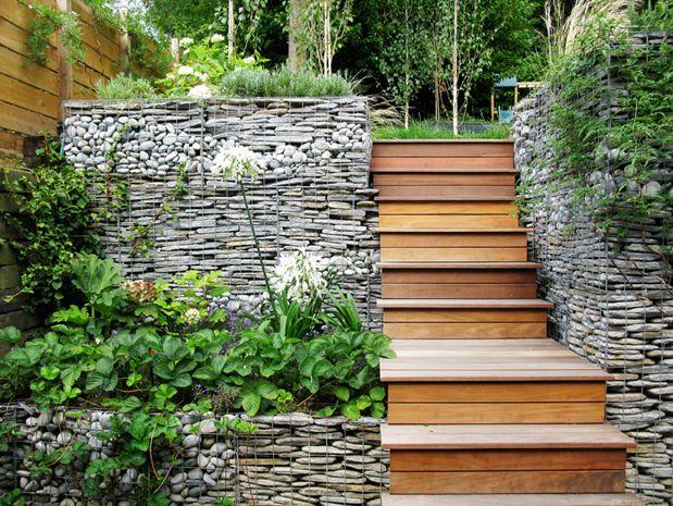 Gabion terraced retreat landscaping garden for Gabion landscaping
