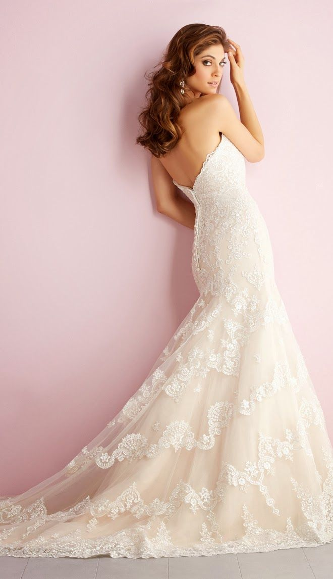 A hint of color ~ Allure Romance Spring 2014 Bridal Collection | bellethemagazine.com