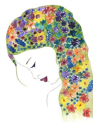 Blomsterpiken - Orginal akvarell