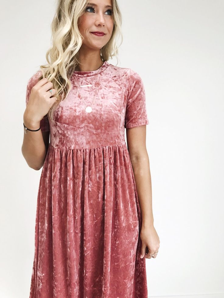 Pink Rose Velvet Dress | ROOLEE