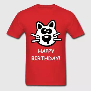 Happy Birthday Present Gift Cat Cute Cool - Men's T-Shirt