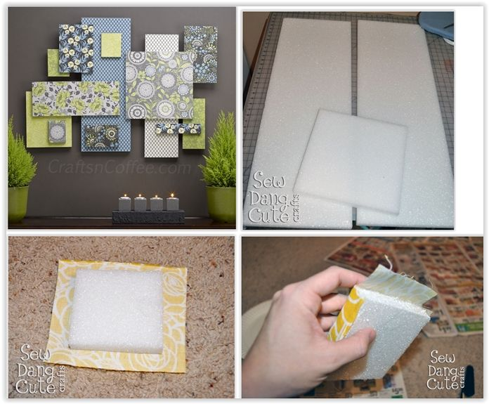 DIY Custom Wall Art Using Fabric + Foam ... step-by-step instructions showing you how she used STYROFOAM brand foam & fabric to make this wall art collage .............. #DIY #art #wallhanging #foamboard #fabric #sprayadhesive #decoupage #ModPodge #glue #howto #tips #decor #crafts