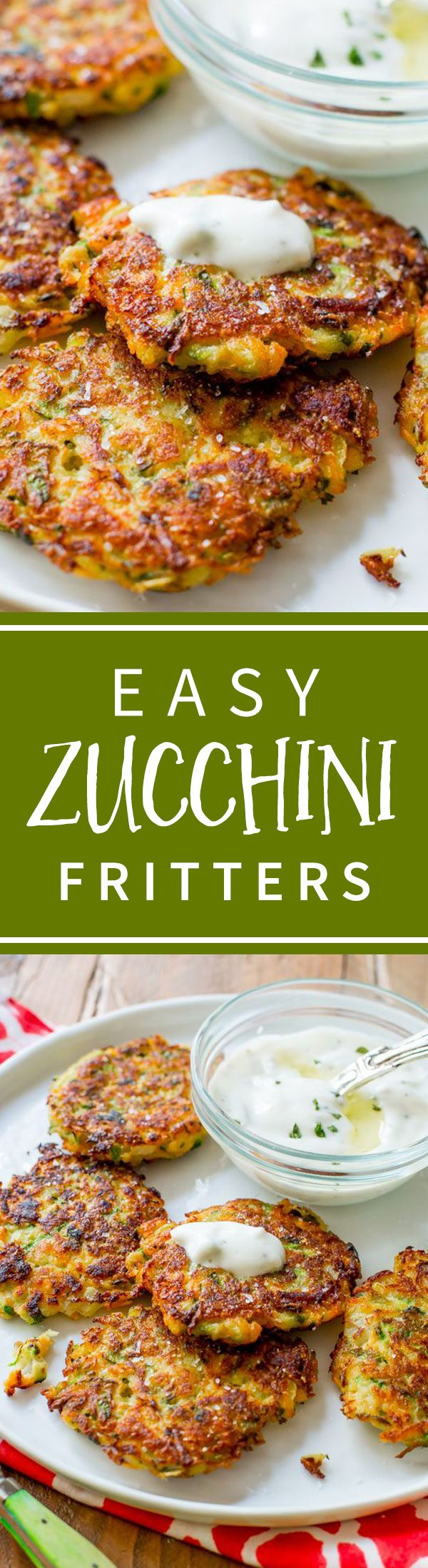 Golden brown, crispy, and light zucchini fritters. Hold onto this recipe! Recipe on sallysbakingaddiction.com