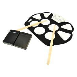 Features: Hassle-Free Tabletop Drum Kit Unique Roll-Up Design for Instant Drumming Compact, Portable & Ultra-Thin Pre-Loaded with Selectable Drum Kits & Songs Record Mode: Save & Playback Your Drum Sessions Hand Percussion Mode: Drop the Drumsticks & Use Your Hands Effectively Reproduces Complete 'Drum Set' Sounds (9) Drum Pads with Touch Sensitivity Tom-Toms, Hi-Hat, Snare …