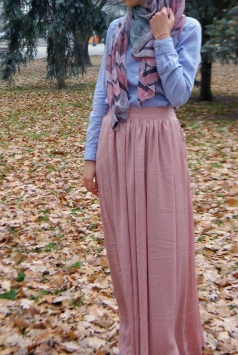Hijab Fashion 2016/2017: love it Button up. Maxi skirt. Hijabi fashion