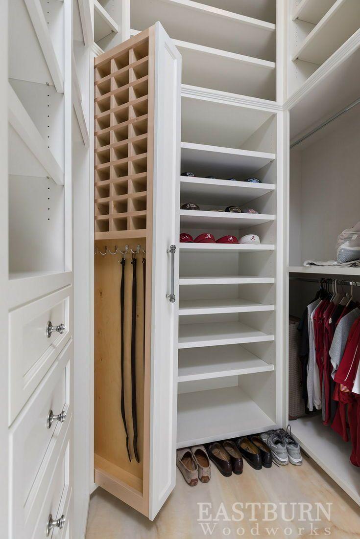 Built In Custom Tie And Belt Storage In An Eastburn Woodworks