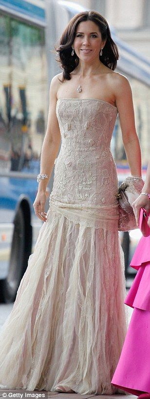 Crown Princess Mary of Denmark wore a strapless lace number for the wedding between Crown Princess Victoria of Sweden in 2013. The Daily Mail, Aug 17, 2015.