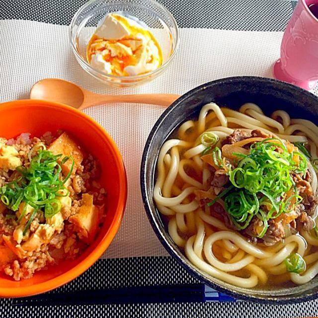 やっぱりうどんは、冷凍うどんの方が腰があっておいしい!(笑) - 15件のもぐもぐ - 肉うどん&厚揚げひき肉丼&パンナコッタ by ukachaon