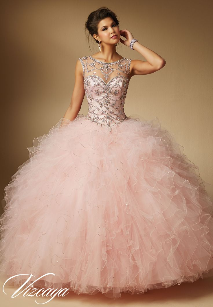 Quinceanera dresses by Vizcaya Jeweled Beading on Ruffled Tulle Matching Stole. Available in Blush, Coral, Mint, White
