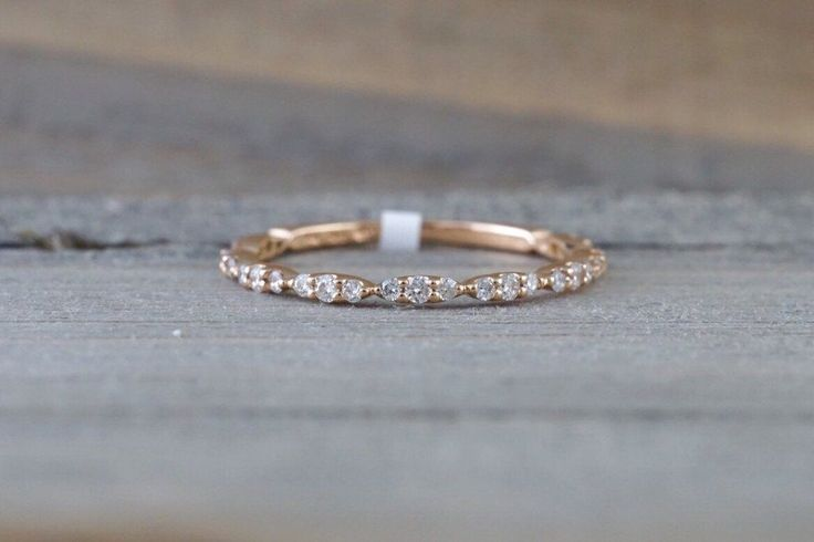 14k Rose Gold Dainty Diamond 3/4 Eternity Band Wedding Anniversary Love Ring Band Vintage