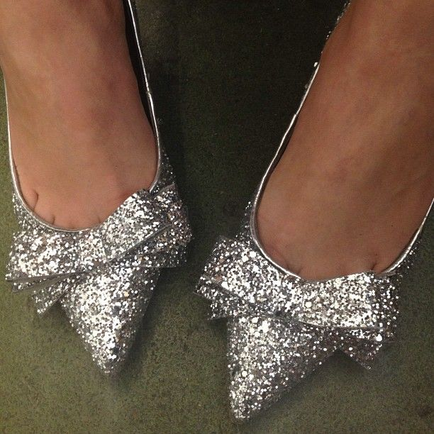 No wellies for us! Jill sparkles in her glitter Carvela by Kurt Geiger heels as we dream of Glastonbury...