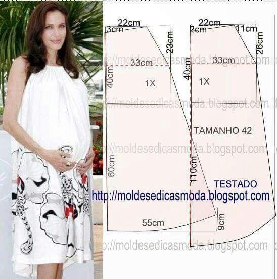 Molde de vestido de maternidad sin mangas recogido en el cuello