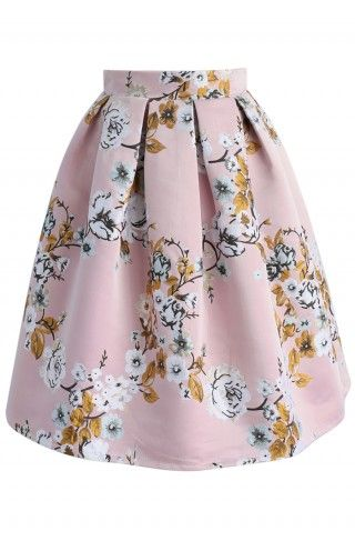 Blossoming Garden Jacquard Skirt in Pink - Bottoms - Retro, Indie and Unique Fashion