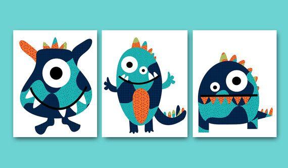Monsters Nursery Baby Nursery Decor Baby Boy by artbynataera, $42.00
