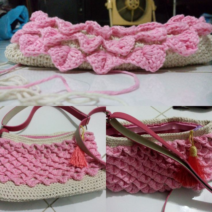 Pink Bag with crocodile motif, i used Bali cotton to create this bag, spend 1 and half pink yarn and 1 white yarn (each 100 gr) #crochet #crocheting #bag