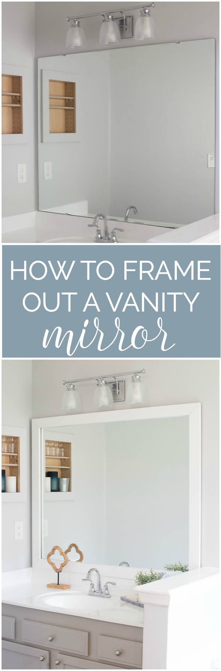 How to frame out your vanity mirror. $40 for a custom looking bathroom mirror.