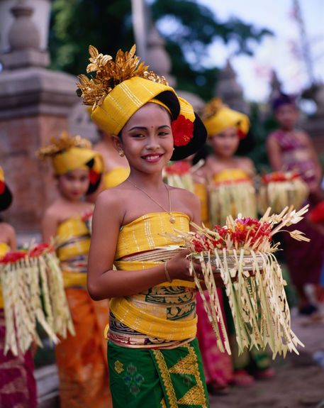 Young girls from the Bali Aga Village of Tenganan in traditional dress.