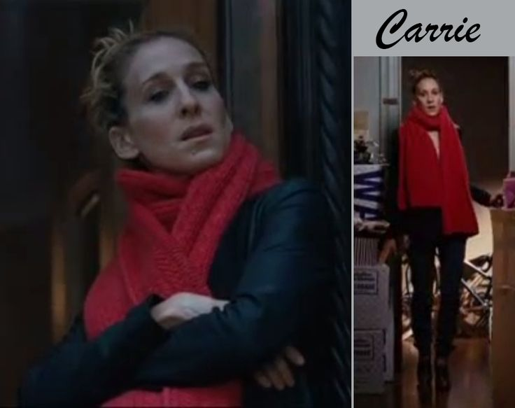 The Best movie outfits > The second: Carrie Bradshaw (Sex and the city 1. movie) Casual jeans + white shirt + leather jacket + red scarf + ankle boots with heels #sexandthecity #carriebradshaw