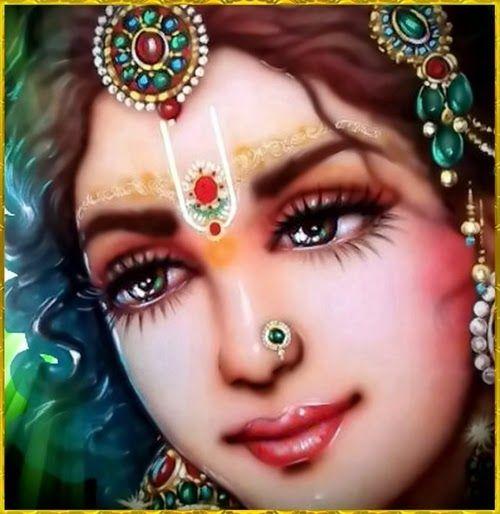 She is the queen of Vrndavana (vrndavanesvari), the beloved of Lord Krsna (krsna-priya), more charming than Kamadeva (madana-mohini), beautiful (srimati), Lord Krsna's beloved (krsna-kanta), and the giver of bliss to Lord Krsna (krsnananda-pradayini), and the most beautiful girl in the three worlds (trailokya-sundari)
