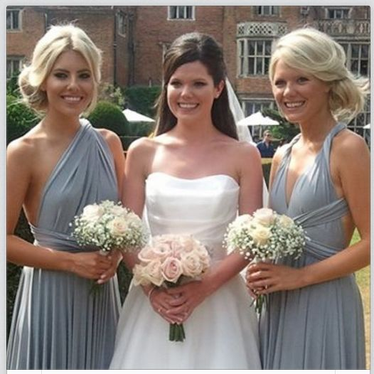 Love the colour of the bridesmaids dresses..The lovely Mollie King at her sister Ellen's wedding...these twobirds platinum bridesmaids dresses are beautiful!