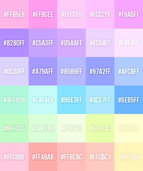 Pastel Color Palette: Made A Pastel Palette (pastelette?) For Myself In
