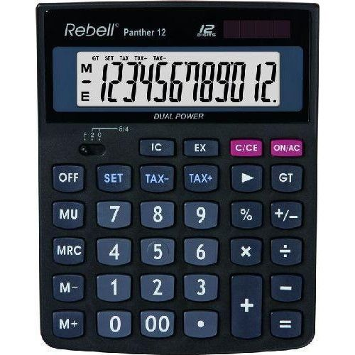 Rebell Panther 12 napelemes asztali számológép 12 számjegyes - 3 év garancia Ft Ár 3,499