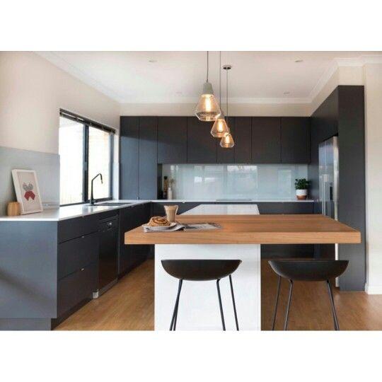 Matt Grey Kitchen With Pure White Caesarstone Benchtop