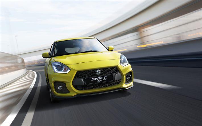 Herunterladen hintergrundbild suzuki swift sport, 2018, 4k, vorderansicht, grün, swift new swift sport version, japanische autos, suzuki