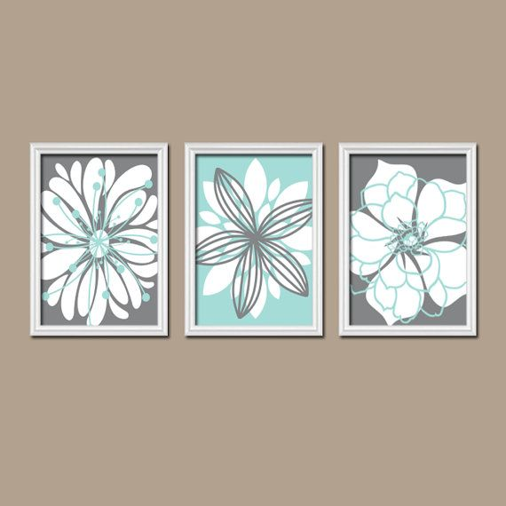Bathroom Artwork Canvas Or Prints Charcoal Gray Aqua Blue Bathroom Flower Burst Outline Dahlia Floral Bloom Bedroom Home Decor Set Of 3