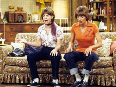 "1976 - Laverne & Shirley, a Happy Days spin-off debuted in 1976 starring Penny Marshall as Laverne De Fazio & Cindy Williams as Shirley Feeney. They were roommates who worked in a fictitious Milwaukee brewery called ""Shotz Brewery."""