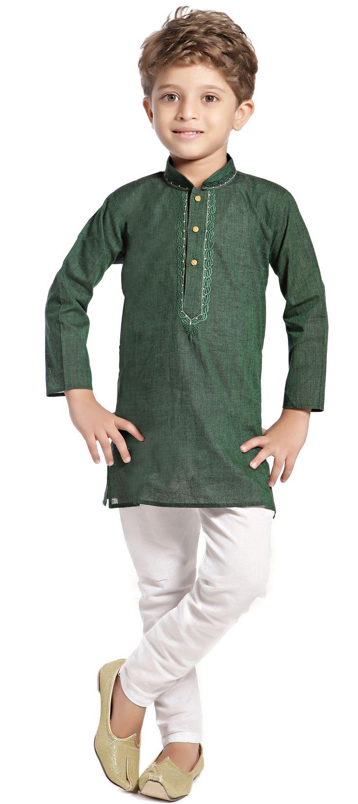201138: Green color family stitched Boy Kurta Pyjama .
