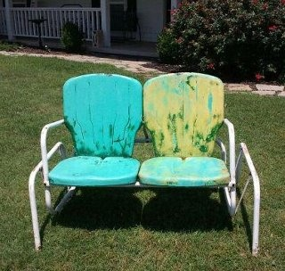 Marvelous Vintage Turquoise Glider! See This In The White Barn @ The Feathered Nest  Market In