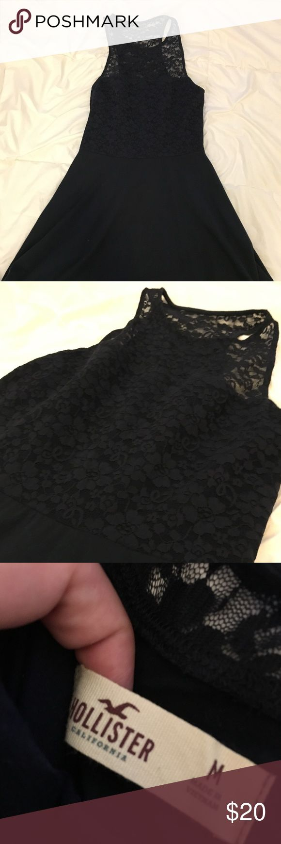 Hollister Navy Lacy High-necked Skater Dress Comfy but cute Skater Dress. The lace dresses the look up, but the t-shirt material keeps the look comfy! Hollister Dresses
