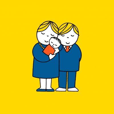 Papa en mama met baby geboortekaartje van nijntje versturen bij Kaartwereld: 20% korting bij het maken van een gratis account.