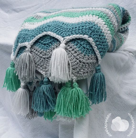Classic Vintage Style Chevron in Aqua Teal Grey Antique White with Tassels, Ocean Waves Chevron Afghan with Fringe, Ripple Zig Zag Blanket